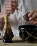 Bamboo tenmoku Chawan - Black Matcha Bowl - Patipatti