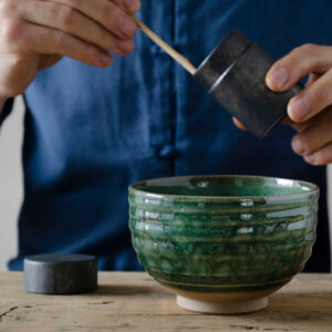 Pine green chawan - handmade matcha bowl from Japan - Patipatti