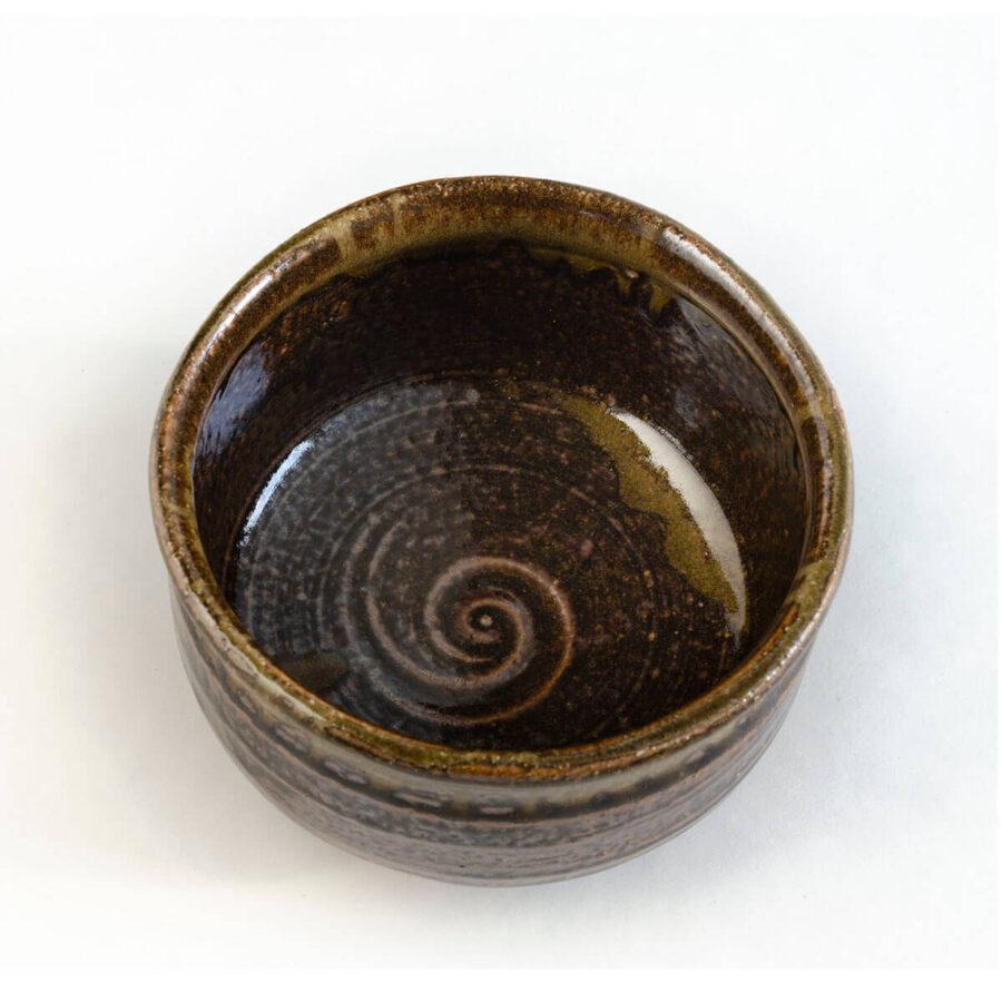 strata chawan - rustic brown matcha bowl