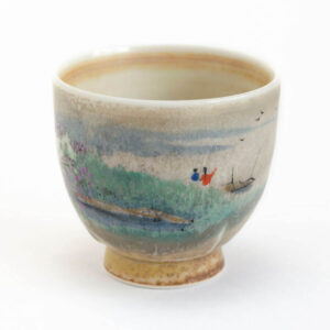 Patipatti Handmade Teacup - Handpainted Pastoral Scene - Idyll Riverview
