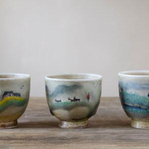 Patipatti Handmade Teacup - Handpainted Pastoral Scene - Idyll Series