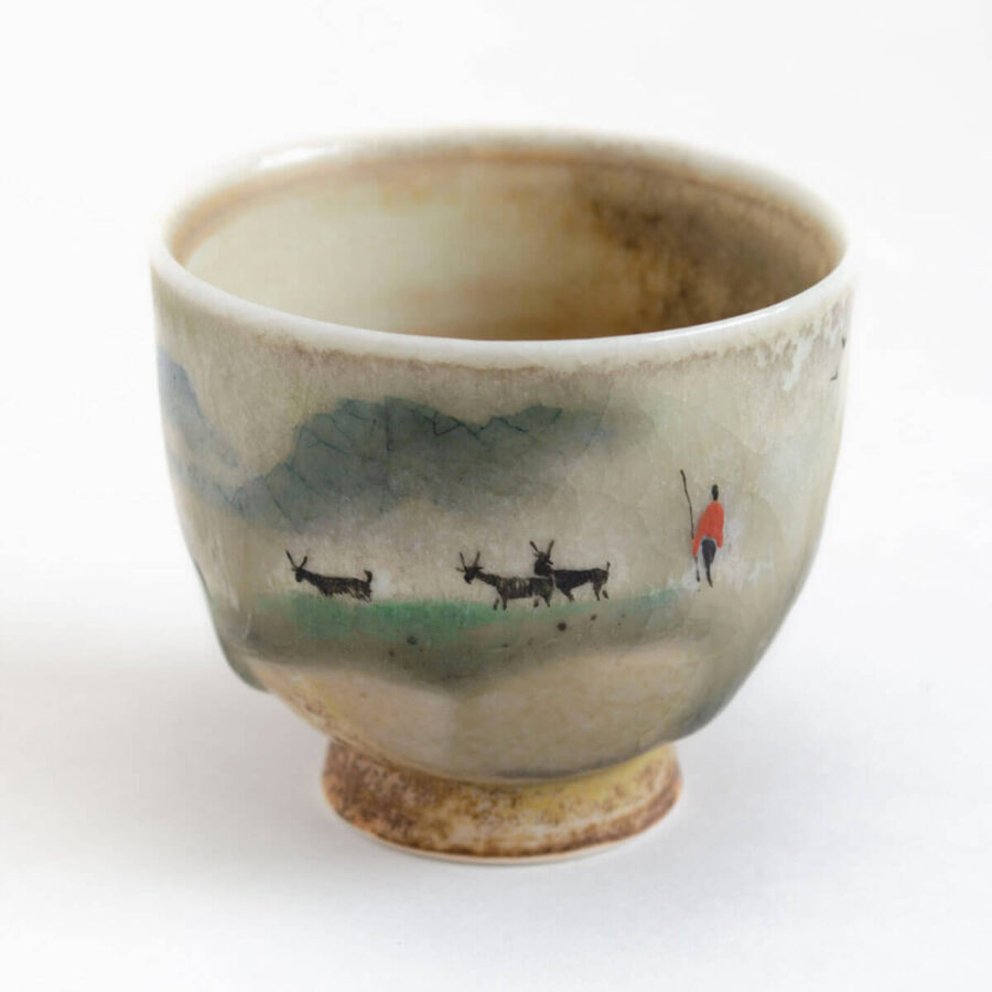 Patipatti Handmade Teacup - Handpainted Pastoral Scene - Idyll Shepherd
