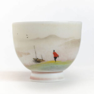 Patipatti Handmade Teacup - Handpainted River Scene - Riverway Boat