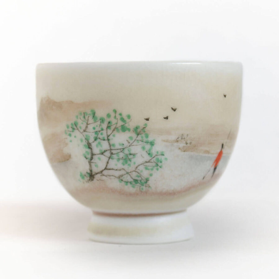 Patipatti Handmade Teacup - Handpainted River Scene - Riverway Oar