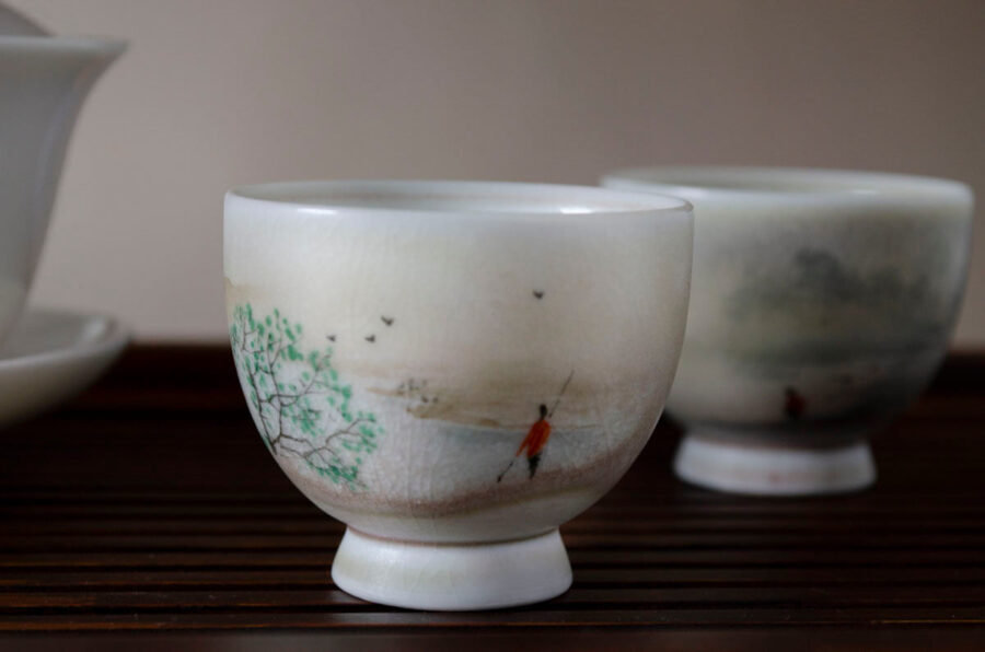 Patipatti Handmade Teacup - Handpainted River Scene - Riverway Series