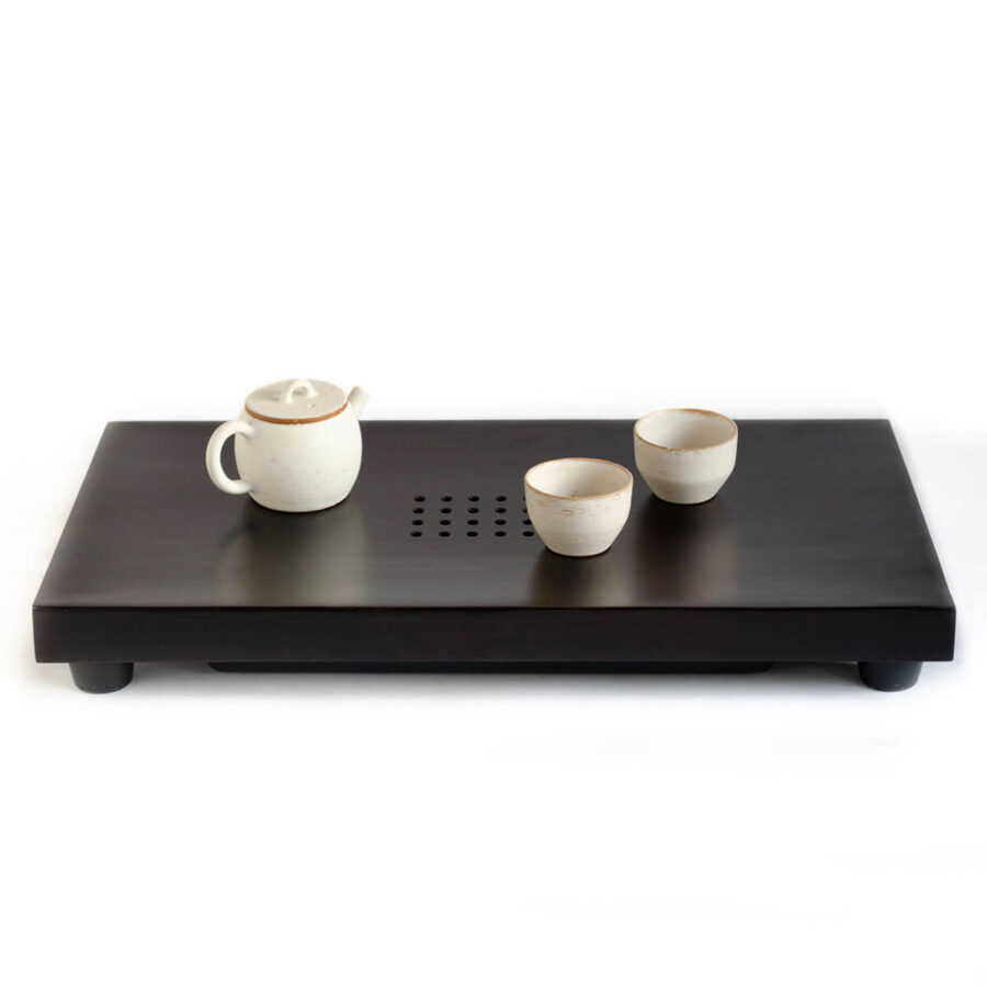 Patipatti Tea Tray - Black Bamboo with reservoir tray or draining tube