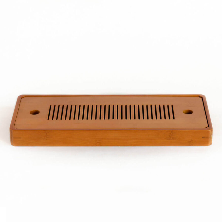 Patipatti Bamboo Tea Tray with Reservoir - Zen Lines Rectangle