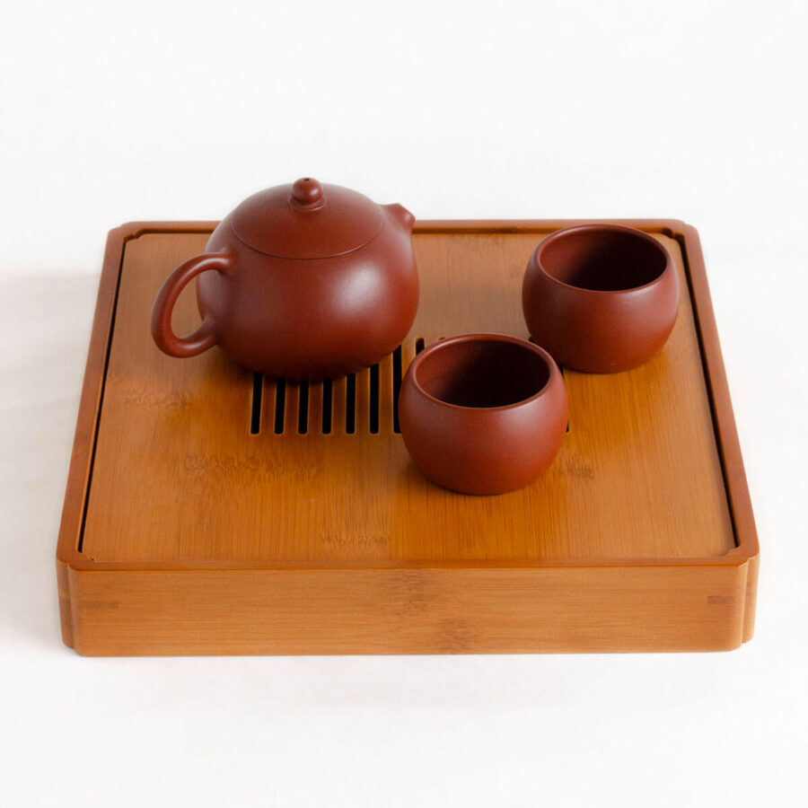 Patipatti Bamboo Tea Tray with Reservoir - Zen Lines Square