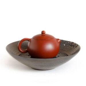 Patipatti Ceramic Tea Tray with Reservoir - Old Bronze