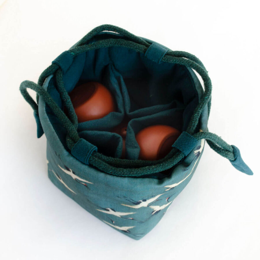 Large Cotton Travel Pouch for teaware - Crane