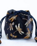 Brocade Travel Pouch for teaware - Black Dragonfly
