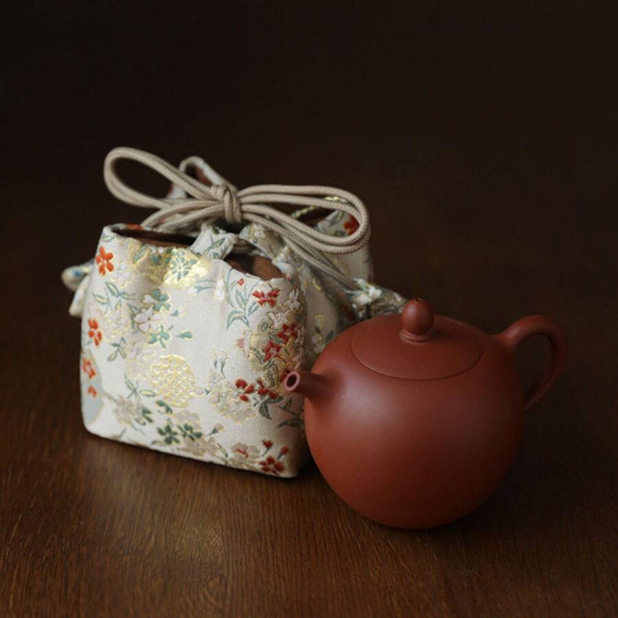 Brocade Travel Pouch for teaware - Golden Pomegranate