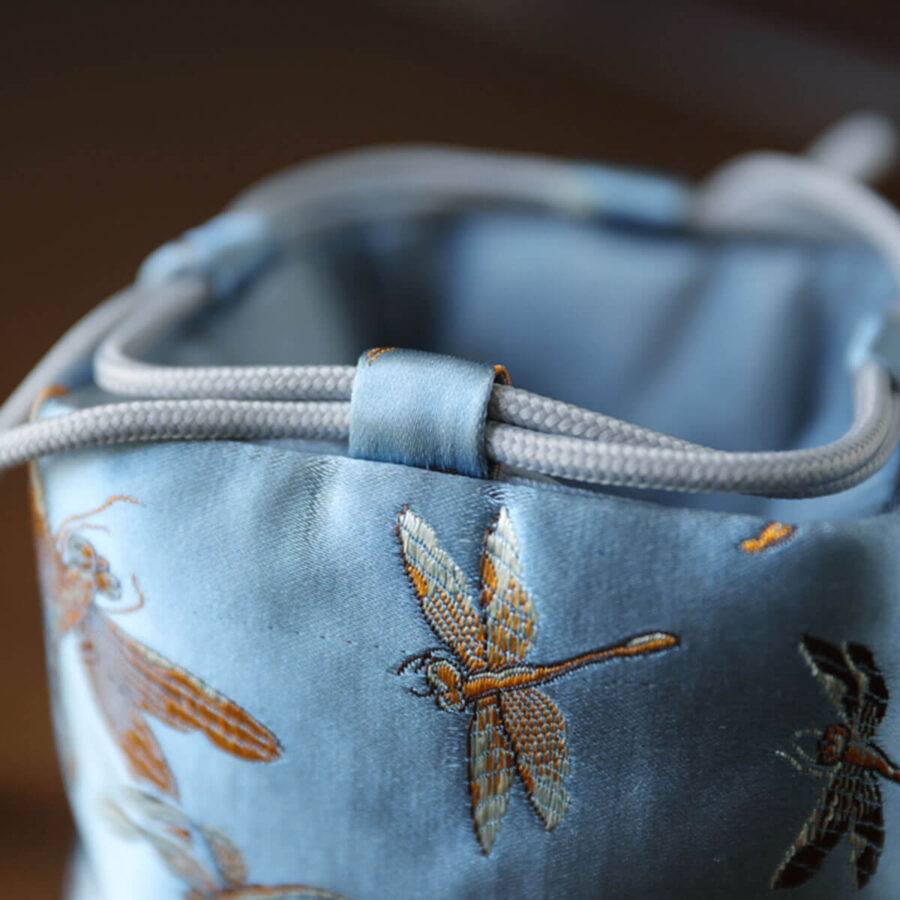 Brocade Travel Pouch for teaware - Blue Dragonfly