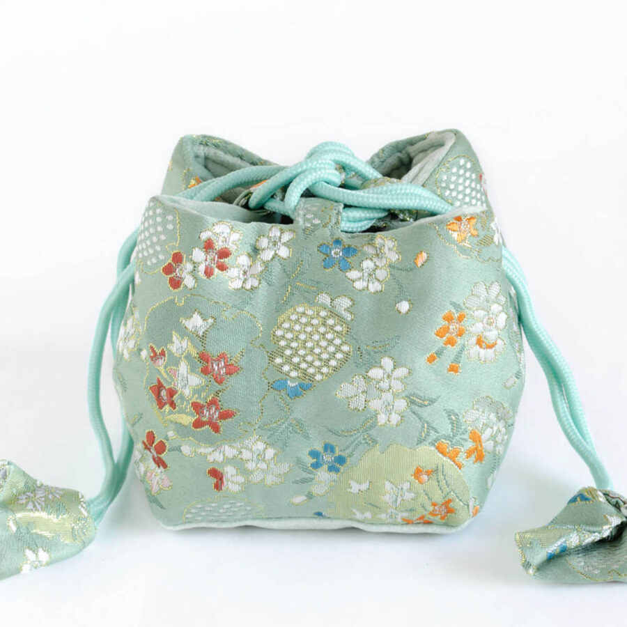Brocade Travel Pouch for teaware - Turquoise Pomegranate